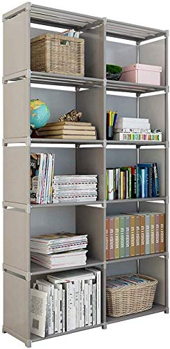 Rerii Cube Organizer Shelf, 10-Cube Storage Closet Organizer, Cabinet Bookcase, Bookshelf, Free Standing Shelves for Bedroom Living Room Office 32 x 11 x 61 Inches