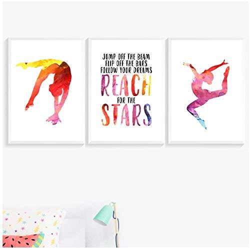 DLFALG Gimnasia pared arte lienzo carteles impresiones gimnasta cita signo pintura colorida acuarela pared cuadros decoración del hogar-40x50cmx3 sin marco
