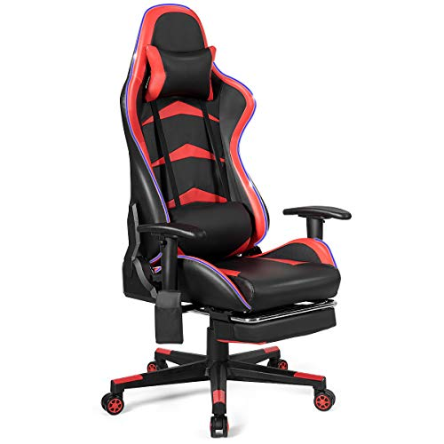 GOFLAME Gaming Chair with LED Light, PC Racing Gamer Chair, Swivel Rolling Ergonomic Computer Chair Headrest Lumbar Support Cushion Footrest, Executive Office Chair Backrest Adjustable Armrest (Red) chair gaming