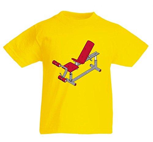 Camiseta de banco, rojo, gimnasio, ejercicios, ejercicio, entrenamiento, cuerpo, entrenamiento, fitness, mancuernas, saludable para hombre, mujer, niños, 104 – 5 XL amarillo Para Hombre Talla : X-Large