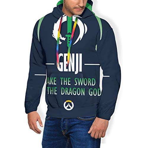 Genji Take The Sword of the Dragon God Ov-erwatch Herren Fashion Sweatshirt Kapuzenpullover Taschen Plus Samt Gr. XXXL, Schwarz