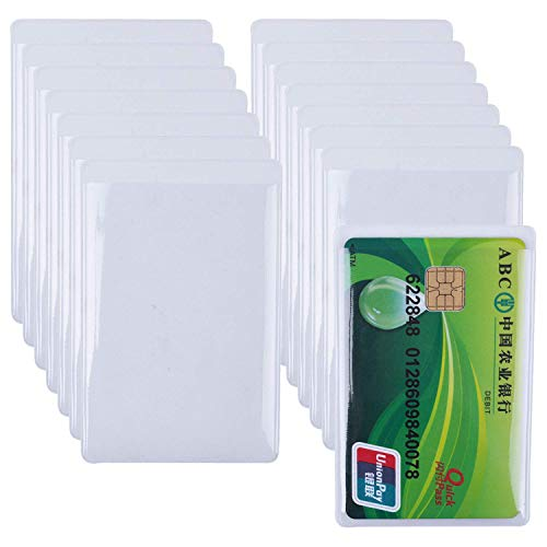 15枚セット 銀行カードカバー プラスチック製クレジットカードホルダー ポケット付き 透明 シンプル 簡単着脱 防水 防塵