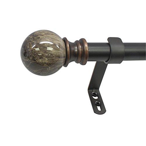 "Beme International 1"" Decopolitan Core Marble Ball Telescoping Drapery Rod Set, 18-36"", Brown"