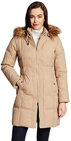 Larry Levine National uniform free shipping Women's Challenge the lowest price of Japan ☆ Hooded Down Coat Length Three-Quarter