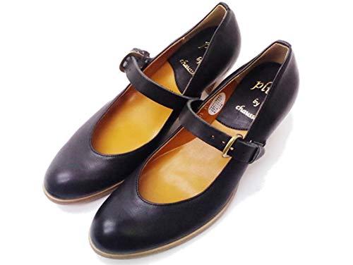 [ショセ] PC-570 ブラック BLACK すべり止め加工済み レディース 靴 ストラップパンプス (measurement_24_point_0_centimeters)