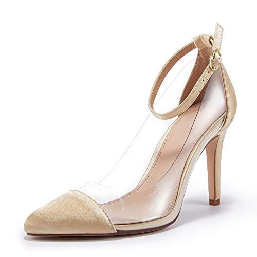 Ermonn Women's Pumps Pointed Toe Clear Stiletto High Heel Ankle Strap D'Orsay Wedding Bridal Gold