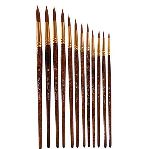 RZJF 12 Zwei-Farben Nylon Haar Fan-Shaped Kugelschreiber, braun Lange hölzerner Pole Pen Ölmalerei, Acryl-Pinsel, Ventilator-Wasser-Kreide-Set,B