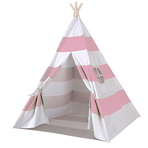 Porpora Indoor Indian Playhouse Toy Teepee Play Tent for Kids Toddlers Canvas with Carry Case, Pink Stripe