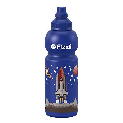 Fizzii Kinder- und Freizeittrinkflasche 600 ml (auslaufsicher bei Kohlensäure, schadstofffrei, spülmaschinenfest, Motiv: Weltraum)