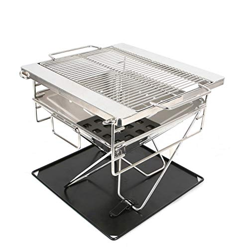 N-RIT BBQ Grill, tragbarer Camping-Grill, Edelstahl, extrem stabil & kompakt + Tragetasche + Outdoor Microfaser-Tuch