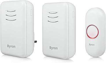 Byron DBY-22314UK draadloze deurbelset, dubbele pack, batterij draagbaar en plug in, 150 m bereik, 16 melodieën