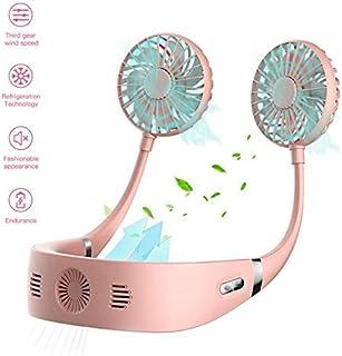 GHmarine - Ventilador de aire acondicionado para colgar cuello con 3 velocidades de viento + tecnología de refrigeración, carga USB, para colgar en interiores y exteriores