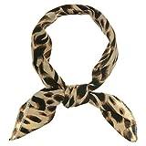 sourcing map 50cm Bufanda De Cuello Cuadrado Vistoso Estampado De Leopardo Pañuelo De Cabeza Pañoleta Para Mujer Negro Beige 50 * 50 cm / 19,69 * 19,69 pulgadas (L * W)