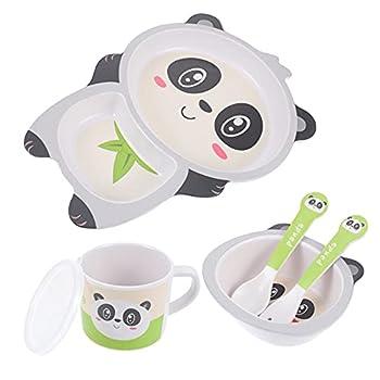 TOYANDONA 5pcs/ Set Childrens Bamboo Dinner Set Kids Board Food Plate Bowl Cup Spoon Fork Set Dishware Cartoon Tableware  B