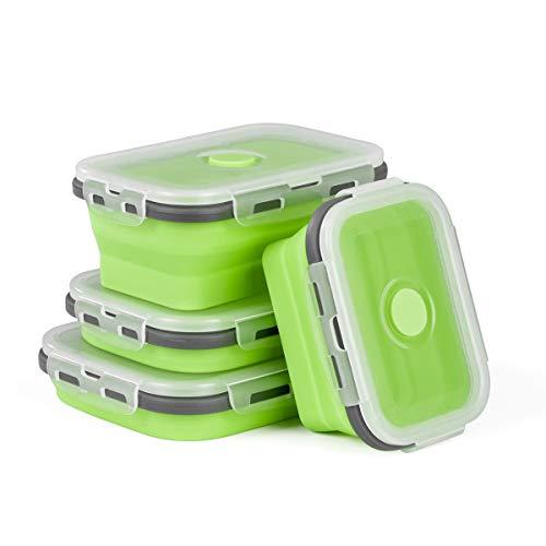 Hivexagon Boîtes Pliables en Silicone Récipients pour Aliment, Boîte pour déjeuner, Bento sans BPA, 4 boîtes pour Le Camping, la randonnée CP023