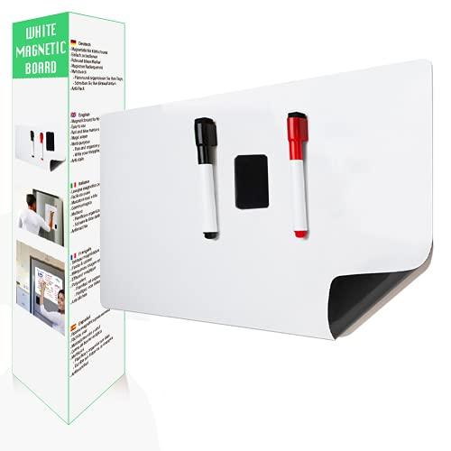 AFASITA Tableau blanc magnetique A3 avec marqueurs et gomme aimantée - tableau magnetique blanc pour réfrigérateur - effaçable à sec - tableau aimanté blanc - liste des courses