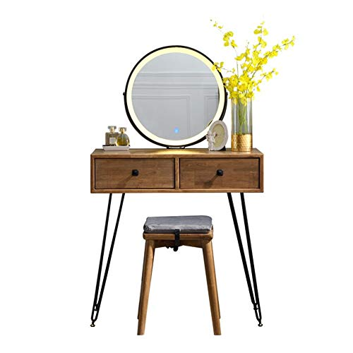 Zwshop Dressing Table, with Light Three-Color Adjustable Makeup Mirror, Nordic Iron Simple Dressing Table, with Stool Set, Family Bedroom Storage Cabinet