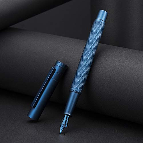 Dark Blue Forest Fountain Pen Fine Nib Classic Design with Converter and Metal Pen Case Set by...