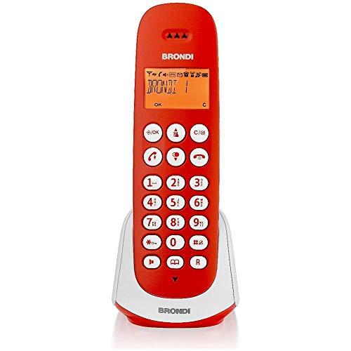 Brondi Adara - Teléfono (Teléfono DECT, Terminal inalámbrico, Altavoz, 20 entradas, Identificador de Llamadas, Rojo, Blanco)