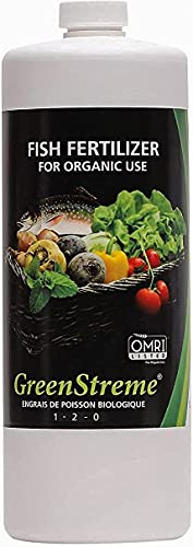 GreenStreme Organic Low-Odor Premium Fish Fertilizer for Plant, Herbs & Vegetables, OMRI Listed & Certified, Boost Strength & Vitality in Plants - 1 Liter   34 Fl.Oz