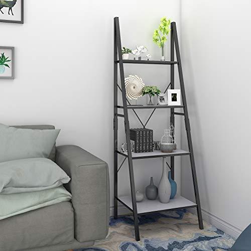 Lifewit Ladder Shelf 4 Tiers Book Shelf Bookcase Display Shelf, Plant Flower Stand, Wood Storage Rack for Home/Office/Garden/Living Room, Metal Frame.