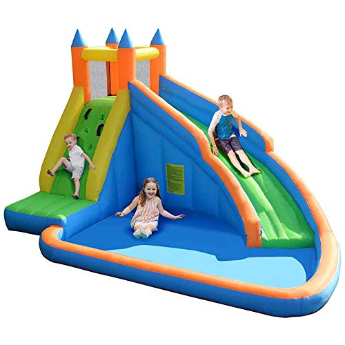 Zhihao Aufblasbare Hüpfburg, Pullover Haus Water Pool Slide Activity Center for Kinder mit Wasserrutsche, Kletterwand und Pool, 400 x 250 x 300CM