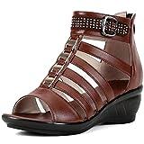 Women's Wedge Sandals Summer Elegante Casual Casual Transpirable Pozo Open Toe Shiny Zapatos Cómodos Tirables Sandalias Hollow Zapatos Madre,Marrón,37 EU