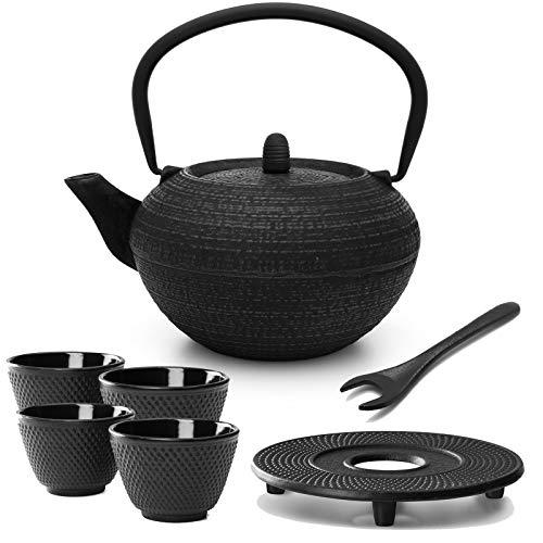 Tetera redonda de hierro fundido, 1,2 litros, incluye filtro de filtro, platillo de hierro fundido, 4 tazas de té y elevador de tapa, color negro