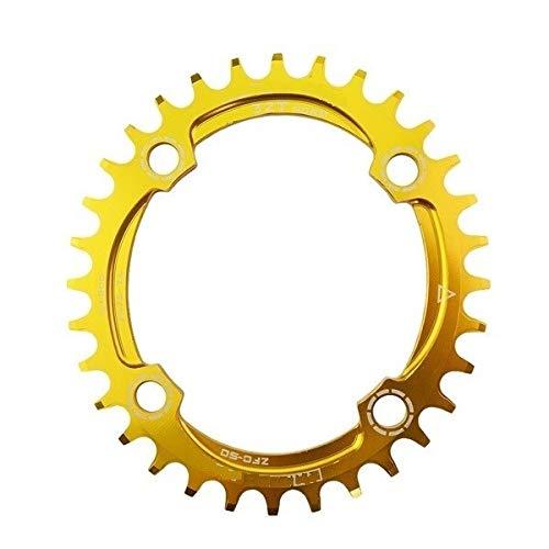 Hojuan Nueva 104BCD Bicicletas Chainring 32T / 34T / 36T Estrecho Ancho Oval Redondo Ciclo Chainwheel 7075-T6 y bielas MTB Círculo Plate (Color : 32T Oval Gold)