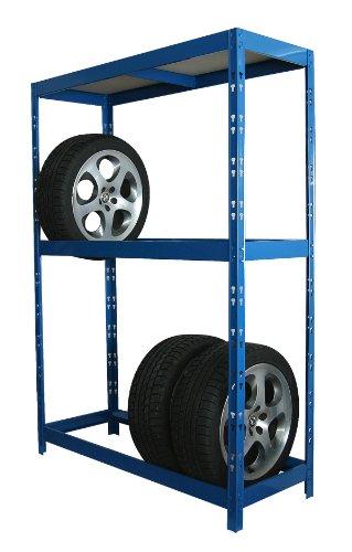Reifenregal / Felgen-Steckregal 180x130x50 cm, blau, für 12 Reifen, höhenverstellbar bis 22 Zoll (Belastbar: 120kg/Ebene) (Regal Felgen in Garage / Keller Garagen-Regal Werkstatt-Regal Felgen-Regal)