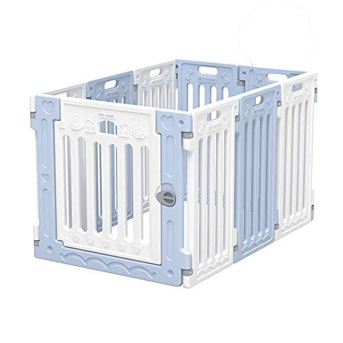 GBY Haustierzaun, Hundezaun im Freien und drinnen, Faltbarer Hundekäfigzaun, geeignet für kleine Hunde, blau und weiß, 70 * 105 * 65 cm