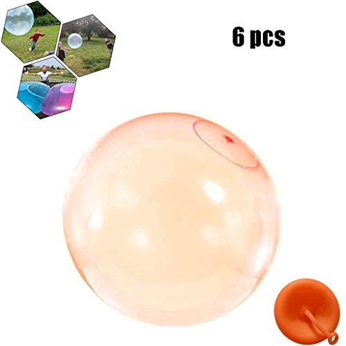 Bubble Ball, Enfants Extérieurs Doux Squishies Air Rempli d'eau Bulle Bubble Ball Blow Up Ballon Jouet Fun Party Game pour Enfants Cadeau Gonflable,Orange,XL