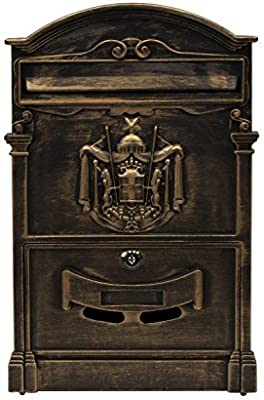 ALEKO USMB-05BZ Elegant Wall Mounted Mail Box with Retrieval Door, 2 Keys and Bolts, Bronze
