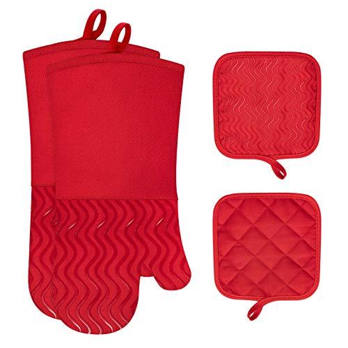 eletecpro Ofenhandschuhe, 2 Topflappen und 1 Paar Topfhandschuhe Hitzebeständige Silikon und Baumwolle, Handschuhe zum Küche Kochen, Backen, Grillen Rot