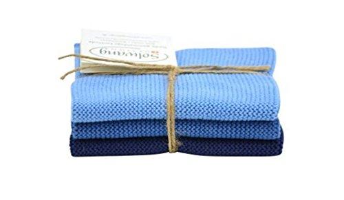 Solwang Putzlappen gestrickt Staubig Blau Kombi Wischlappen Baumwolle Wischtücher