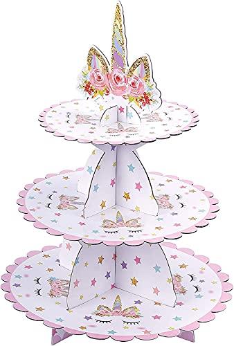 Expositor para cupcake con unicornio, 3 niveles de cartón soporte para tartas, para bebé, fiesta de cumpleaños