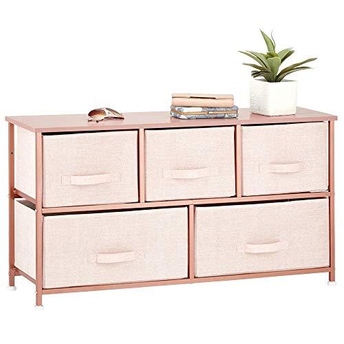 mDesign commode à 5 tiroirs – meuble à tiroirs large pour la chambre à coucher, le salon ou le couloir – rangement vêtements au design structuré en métal, MDF et tissu – couleur rose/or rouge