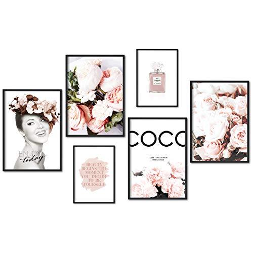myestado Premium Poster Set Bilder - Wohnzimmer Modern Schlafzimmer Bild für Ihre Wand - ohne Rahmen - 4 x DIN A3 & 2 x DIN A4 - ca. 30x42 & 21x30 » Beauty «