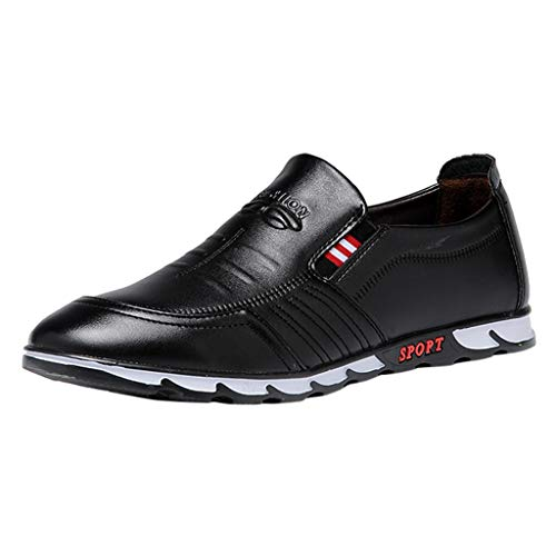 Anzugschuhe Oxford für Herren/Skxinn Herrenschuhe usiness Casual Lackleder Sneaker Hochzeit Slip on Atmungsaktiv Halbschuhe Ausverkauf(Schwarz,39 EU)