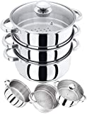 Stainless Steel 3-Tier Food Steamer Pan/Stock Pot 20 cm