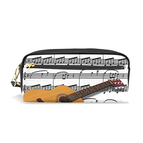 Pencil Case Stylish Print Music Guitar Musical Notes Design Rosa Instrument Art Pattern Large Capacity Pen Bag Makeup Pouch Durable Students Stationery Two Pockets with Double Zipper