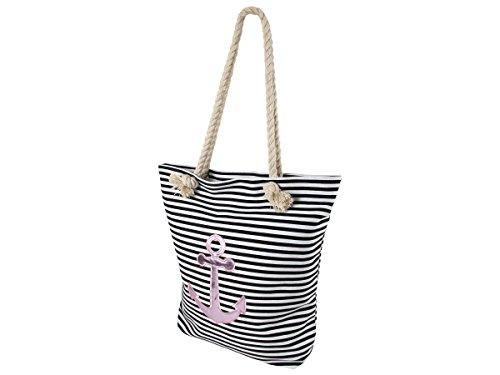 Shopper Tasche Anker rosa groß mit Reißverschluss Maritime Schultertasche Schulterbeutel Damen Handtasche Shopperbag von ALSINO TT-m03