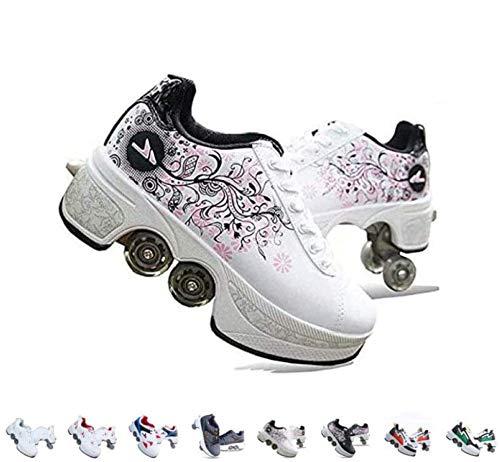 Patines de rodillo,Patines de cuatro ruedas para niñas,Zapatos con ruedas para niñas,Zapatos de patinaje técnico al aire libre,E,43