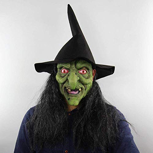 JNKDSGF Horror maskOld Heks Horror Mascaras Volwassen Vrouwen Mannen Halloween Realistische Latex Maskers Cosplay Party Carnaval Masker