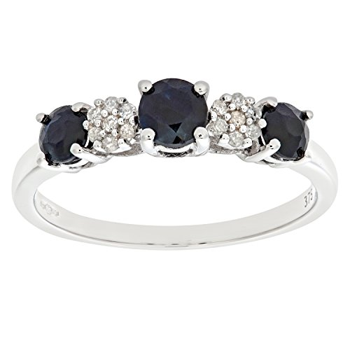 Naava Women's Eternity Ring, 9 ct White Gold Diamond and Sapphire Ring, Claw Set