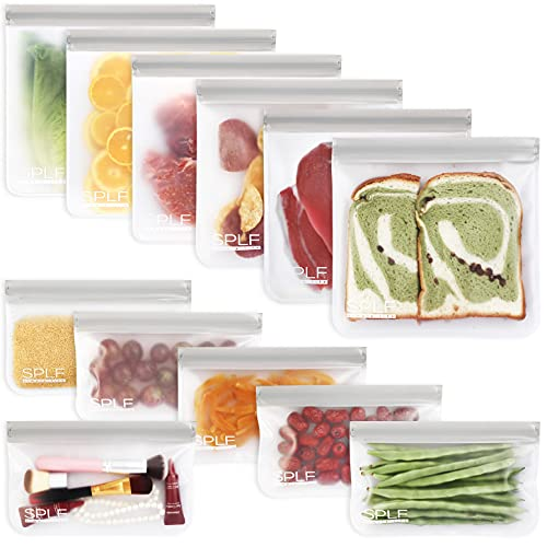 SPLF 12 Pack BPA FREE Reusable Food Storage Bags (6 Reusable Sandwich Bags, 6 Reusable Snack Bags), Extra Thick Freezer Bags Leakproof Silicone and Plastic Free Lunch Bags for Meat Fruit Veggies