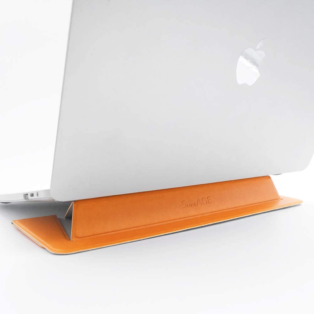 """SenseAGE Flat Foldable Laptop Stand, Invisible Lightweight Laptop Stand, Anti-Slide and Portable Notebook Stand, Compatible with MacBook Air/MacBook Pro, Tablets and Laptops up to 15.4"""", Warm Yellow"""