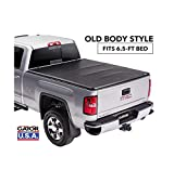 Gator ETX Soft Tri-Fold Truck Bed Tonneau Cover | 59110 | Fits 2014 - 2018, 2019 Ltd/Lgcy Chevy/GMC Silverado/Sierra 1500 6'6' Bed | Made in the USA