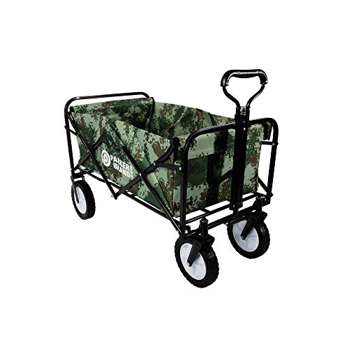 Heavy Duty Foldable Garden Trolley Cart Wagon - Green Digital Camouflag