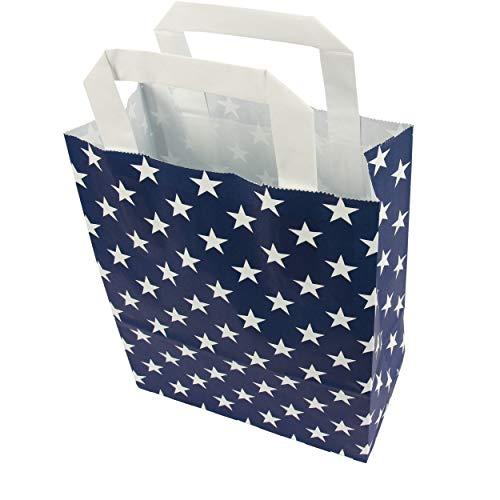 trendmarkt24 Papiertragetaschen Sterne blau 6 Stück mit Papiergriff Papiertüten ca. 18x22x8 cm Papiertaschen Kraftpapier Geschenkstüten Einkaufstüten Papiertragetüten basteln | 230399-A